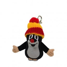 The Mole with bobble cap, red, snap-hook, 8 cm