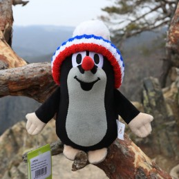 The Mole with bobble hat, tricolor, 20 cm