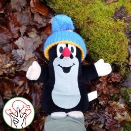 The Mole, hand puppet, blue bobble hat, 25 cm