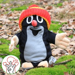 The Mole, hand puppet, bobble hat, 28 cm